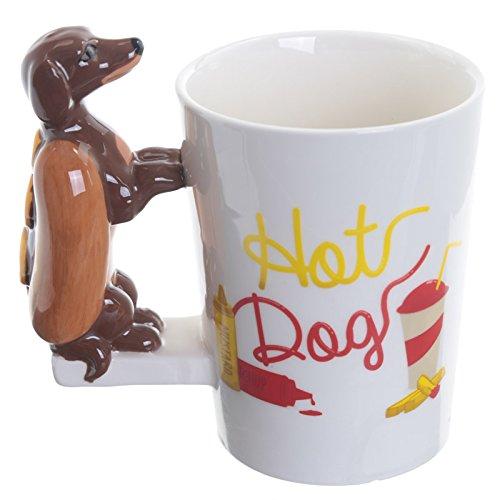 Tasse mit Hot Dog mit Dackel Henkel