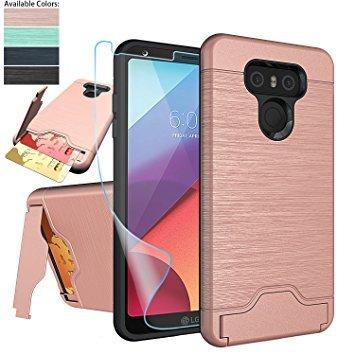 NiuBox LG G6Fall, LG G6Karte Fall mit HD Displayschutzfolie, [Slot Brieftasche für 2Karten] [Standfunktion] Dual Layer Hybrid Stoßdämpfung Schutzhülle Handy Fall für LG G6(Verizon 2017) Rose Gold (Lg, Verizon Handy-fällen)
