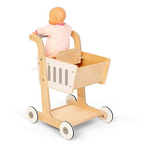 AMLEG Carrito de Compra de Madera , con Porta bebés, Medida: 38 x 51 x 35 - Carros de muñecas