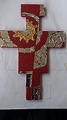 Idea Regalo - Crocefisso di San Damiano da appendere, decorato a mosaio con pezzi di specchio e colore rosso