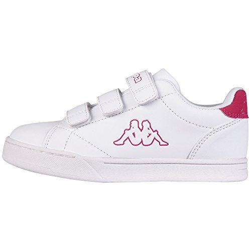 Kappa court, scarpe da ginnastica basse unisex-bambini, bianco (1022 white/pink), 29 eu
