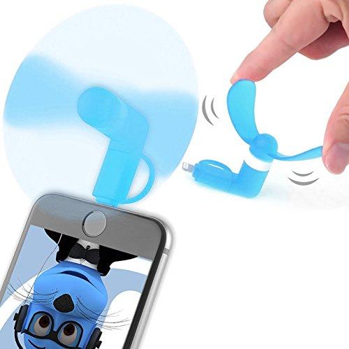 Blau Selfie Taschenformat Mini Lüfter Zubehör mit 2 in 1 Stecker Micro USB und IOS Für HTC P6300