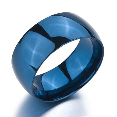 MunkiMix Large 10mm Acier Inoxydable Anneau Bague Bague Bleu Mariage Poli Taille 54 Homme,Femme