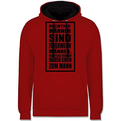 Feuerwehr - Feuerwehr - Richtige Männer - Kontrast Hoodie Rot/Schwarz