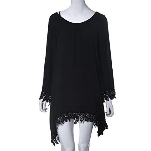Femme Robe, Tonsee Casual noir manches longues franges en vrac MIni robe Noir