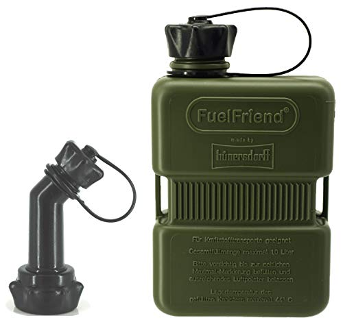 FuelFriend®-Plus 1,0 Liter - Sonderserie Oliv - Klein-Benzinkanister Mini-Reservekanister + verschließbares Auslaufrohr -