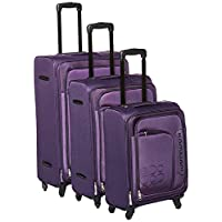 Kamiliant by American Tourister Boho Softside Spinner Luggage Set of 3, with Number Lock - Purple