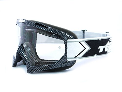 TWO-X Race Crossbrille Graphic MX Brille carbon Motocross Enduro Klarglas Motorradbrille Anti Scratch MX Schutzbrille