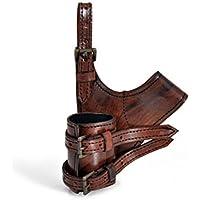 Cinturón de cuero genuino hecho a mano para LARP y espectáculo lucha marrón