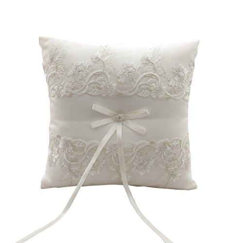 silktalk Ringkissen Romantik Hochzeit handgefertigt Satinband Bogen Beige Fliege Ring Kissen Träger 21 cm * 21 cm D (Bogen-kissen)