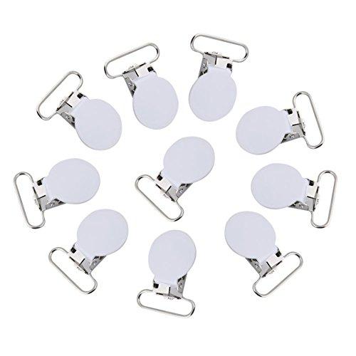 Schnuller Clips, 10er Metall runden Hosenträger Snap Schnuller Strap Halter für DIY machen Leder Handwerk(Weiß)