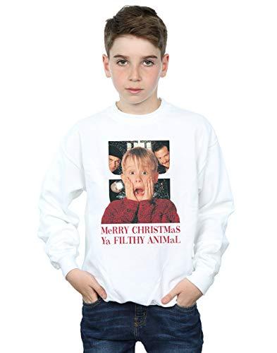 Home Alone Jungen Merry Christmas Ya Filthy Animal Sweatshirt Weiß 7-8 Years (Animal Pullover Christmas Merry Filthy Ya)