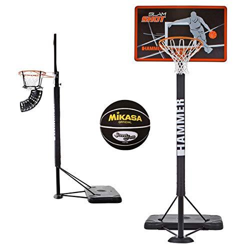 SLAM SHOT Hammer Basketballanlage inkl. Basketballtrainer Ball Return und Mikasa Basketball - 5-Fach Verstellbarer Basketballständer - NBA-Standard-Höhe bis zu 3,05 Meter - Modernes Backboard-Design