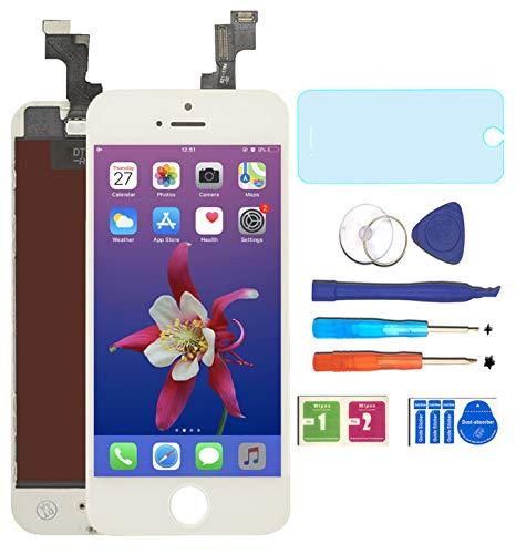 "AUODA Pantalla Táctil LCD Para Iphone 5S (4.0"") Táctil Reemplazo Marco Digital Conjunto Completo &Vidrio Protector(Blanco)"