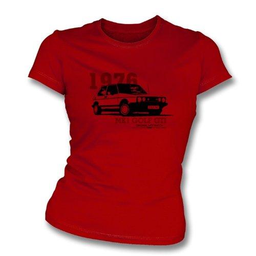 TshirtGrill Dünnes T-Shirt der Sitz Mädchens VW Golfs M 1 klein, Farbe- Rot