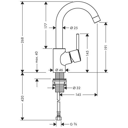 Hansgrohe – Einhebel-Waschtischmischer, Ablaufgarnitur, Schwenkauslauf 360°, Chrom, Serie Talis S - 4