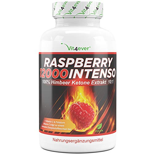Raspberry 12000 Intenso - 12000 mg Tagesdosierung - Extra Stark - 120 Kapseln - 100{4e68785056f01b2e3ff28fdb8fee366e70b8abd3c37589fc2e2d5ef45f9ca710} Himbeere Ketone Extrakt + Vitamin C + Folsäure- Himbeer Keton - Vegan