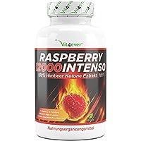 Raspberry 12000 Intenso - 12000 mg Tagesdosierung - Extra Stark - 120 Kapseln - 100% Himbeere Ketone Extrakt + Vitamin C + Folsäure- Himbeer Keton Fatburner - Diät Ergänzung - Stoffwechsel - Vegan