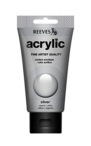 REEVES Acrylfarbe Acrylic, hohe Pigmentierung, 75ml Tube – Silber