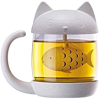 BigNoseDeer Katze Glas Teetasse Becher mit Einem Deckel