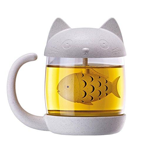euheit Glas Tee Mug Kaffee Cup Wasser Flasche Tee-Ei Sieb Filter Weihnachten Geburtstag Geschenk Cat-Stil (Cute Tee-sets)