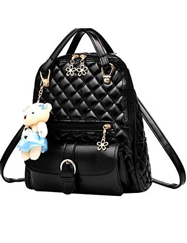 Menschwear PU Zaino Satchel Daypack sacchetto di scuola Diamante Blu Nero