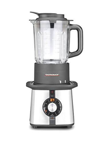 Gastroback 41020 Batidora de vaso, 1200 W, 1.75 litros, 0 Decibelios, Vidrio, 4 Velocidades, Negro, Plata