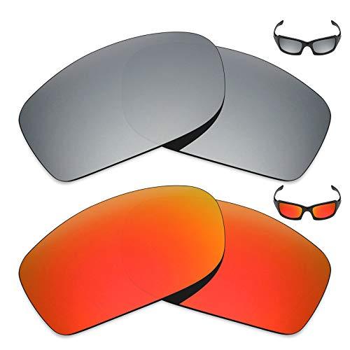 MRY 2Paar Polarisierte Ersatz Linsen für Oakley Fives Squared Sonnenbrille-Reichhaltige Option Farben, Fire Red & Silver Titanium
