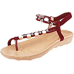 Yesmile Sandalias para Mujer Zapatos Casual de Mujer Sandalias de Verano para Fiesta y Boda Zapatos Planos con Cuentas Sandalias de Ocio Bohemia Chanclas con Tacón Alto (38, Rojo)