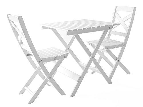 Java Exclusiv Ambientehome Lotta - Juego de mesa y 2 sillas para balcón, plegable, color blanco