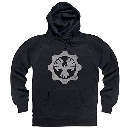 Official Gears of War 4 COG Emblem Felpa con cappuccio, Uomo, Nero, XL
