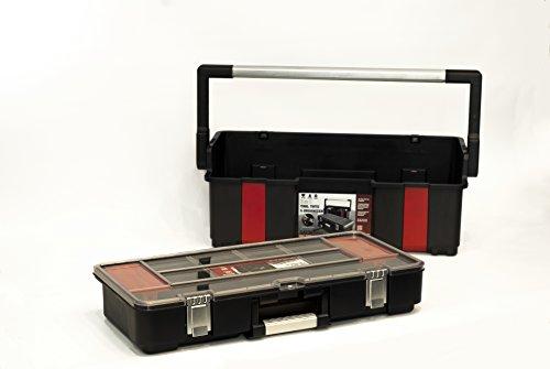 Toolbox Werkzeugkoffer mit Organizer Werkzeugkiste 610x289x255 mm