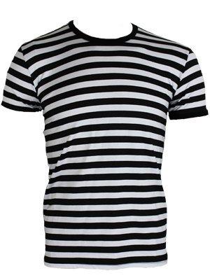 Männer T-Shirt weiß/schwarz gestreift (T-shirt Gestreiftes)