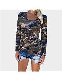 7c70726bea Swallowuk Langarmshirt Damen Casual Bluse T Shirt Hemd Camouflage Langarm  Sweatshirt Pullover Lose Tops Oberteil (