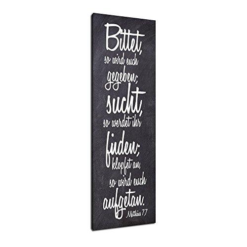 Dalinda® XXL-Wandbild Bibelspruch Bibel Leinwand Leinwandbild mit Spruch Suchen und Finden… 100x40cm Keilrahmenbild Kunstdruck Wandbild Panorama Leinwandbild LS126