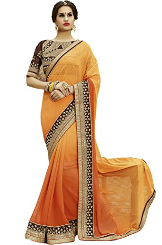 SareeShop Women\'s Clothing Ethnic Wedding And Party Wear Heavy Handwork Designer Half N half Saree Collection in Multi-Colored Georgette Material For Women Party Wear With Blouse Piece (S1104)