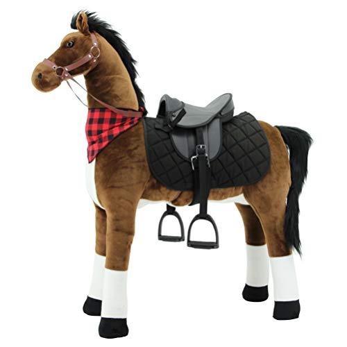 Sweety Toys 12220 Plüsch Stehpferd  Sicherheit ! stabiles Robustes XXL Riesenpferd Höhe 130 cm Pferd Reitpferd mit Stahlunterbau mit zusätzlichem Reitsattel mit Steigbügeln