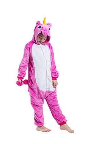 einhorn kigurumi DarkCom Kinder Flanell Kigurumi Onesies Einhorn Cosplay Jumpsuit Cute Outfit Nachtwäsche Rosig