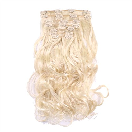 hair2heart Clip in Extensions - 60cm Länge - 130g Haargewicht - 8 teilig - gewellt - Haarteil, optisch wie Echthaar - N-613 lichtblond