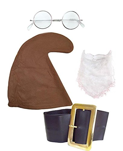 DOC SET Seven Dwarfs/Dwarves Gnome Hat (BROWN HAT, BELT, BEARD & GLASSES SET)Snow White Fancy Dress ()