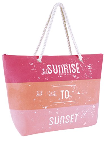 Lora Dora Womens Zip Up Summer Beach Bag Pink Sunrise to Sunset