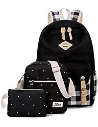 Debbieicy Cute Canvas 3Ps Backpack Shoulder Bag Clutch Bag School Bags Set For Teens Color Grid-Black