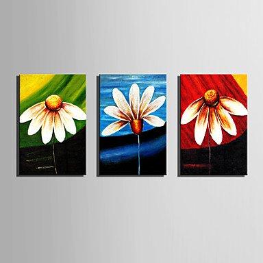 XGHC Handgemalte Blumenmuster/Botanisch Vertikal,Moderne Modern Drei Paneele Leinwand Hang-?lgem?lde For Haus Dekoration , include inner frame , 24