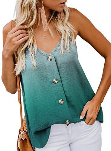 KOKOUK Womens Summer Sleeveless V-Neck Blouse Casual Adjustable Spaghetti Straps Vest Tank Tops S-XXL 1950 Evening Star
