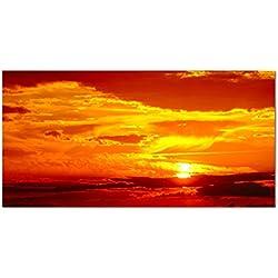 Leinwandbild 120x60 cm - Wunderschöner Sonnenuntergang oder Sonnenaufgang am schönsten Himmel in wunderschönen Farben rot orange gelb Sonne zwischen den Wolken - Bild auf Keilrahmen modern stilvoll - Bilder und Dekoration!