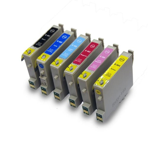 E-487/TO487ein Set kompatibler Drucker-Tintenpatronen für Epson Stylus Photo R200, R220, R300, R300M, R320, R340, RX500, RX600, RX620, RX640 - T0487 - Rx620 Inkjet-drucker
