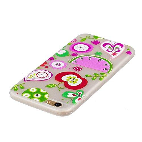 iPhone 6 Plus Hülle,Leuchtend Schutzhülle Bumper für iphone 6S Plus,Ekakashop Modisch Durchsichtig Ultra dünn Slim Grünes Blatt Blume Luminous Muster Weiche Schutz Tasche Silikon TPU Motiv Crystal Gel Frucht