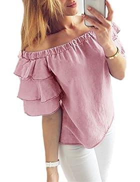 Legendaryman Verano Top Mujer Sexy T Shirt Casual Cuello Barco Volantes Manga Corta Blusa Ocasional Pullover Colores...