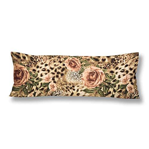 CiCiDi Seitenschläferkissen 5ft (140 x 40 cm) Gestreifter Leopard und Blume aus weicher Baumwolle Polyester Maschinenwäsche mit Reißverschlüssen Mutterschafts- / Lange Kissenbezug -