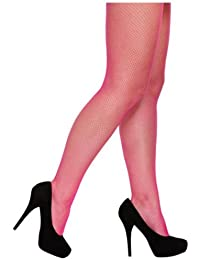 Neon Pink Fishnet Tights One Size